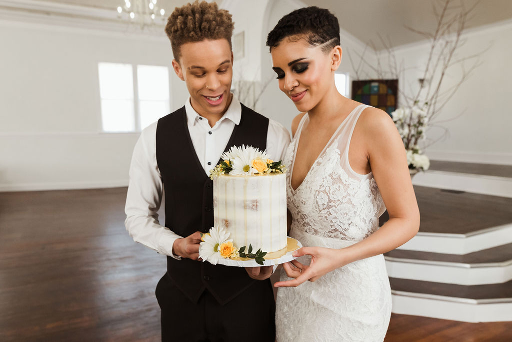 Picture By:  Ellis and Indigo  Cake:  A-Mazion Cakes  Dress:  Ivory Loft Bridal