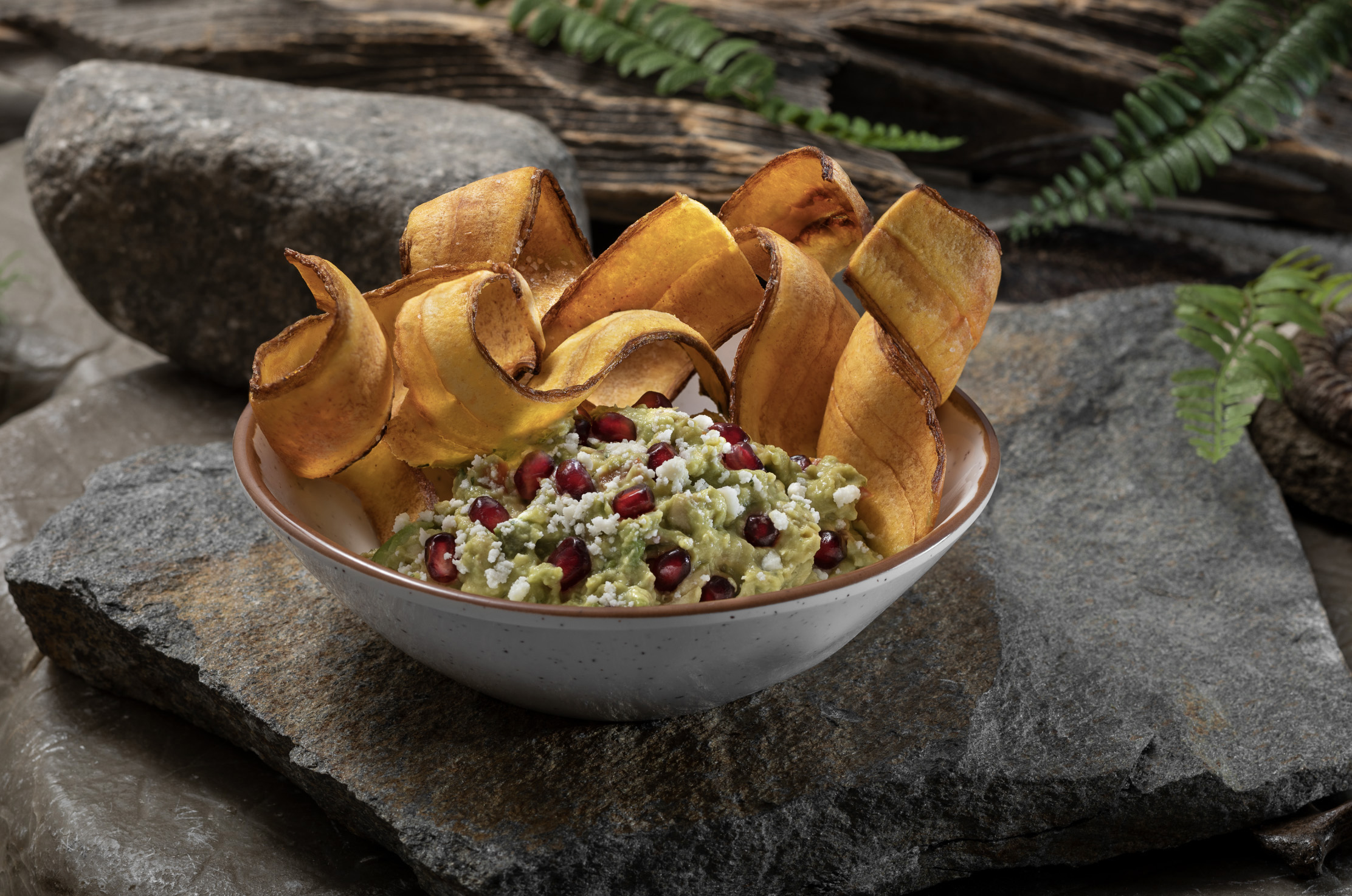 Pomegranate Guacamole with Plantain Chips