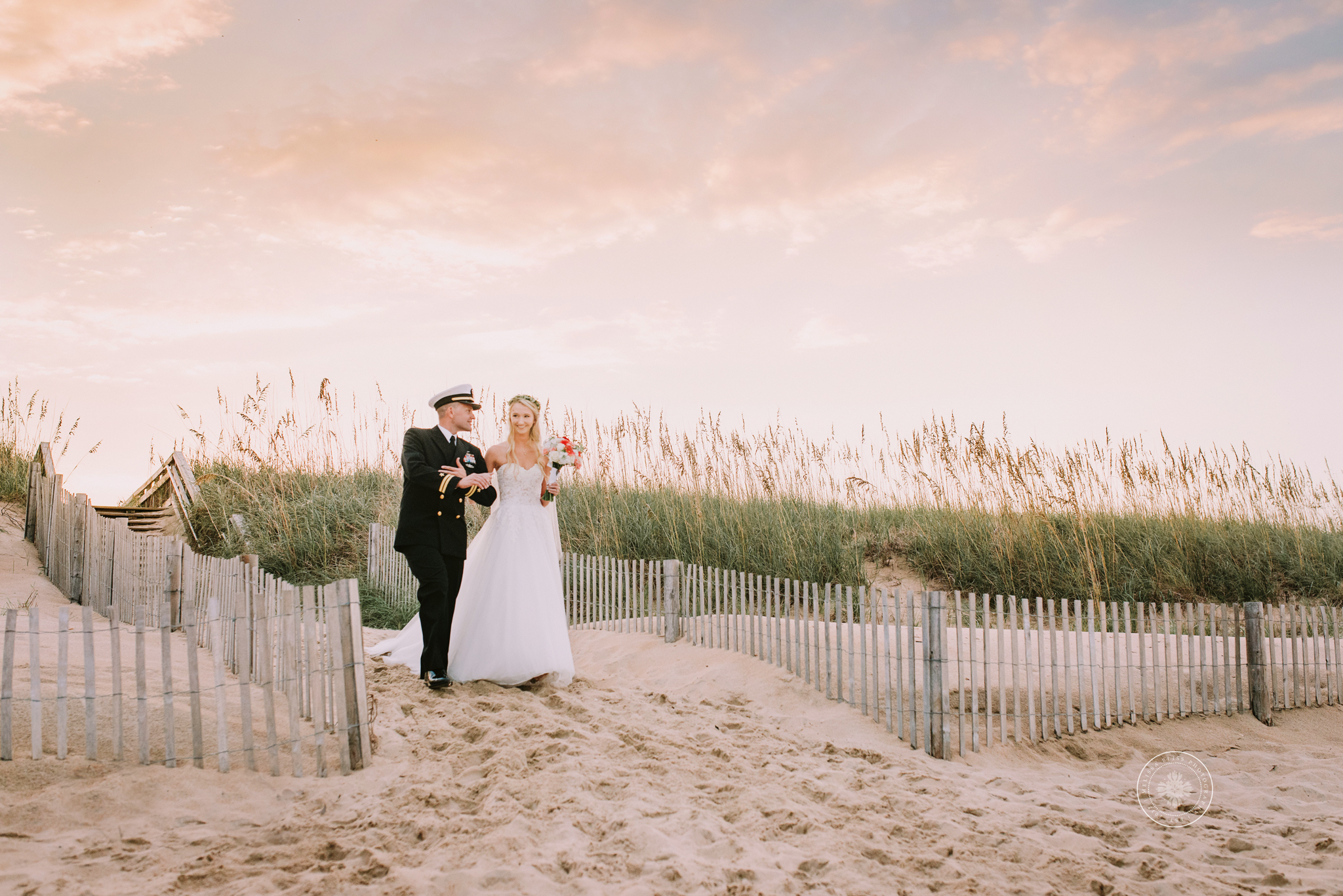 bride-and-father-walk-down-aisle-military-beach-wedding-shifting-sands-Damneck-va-beach
