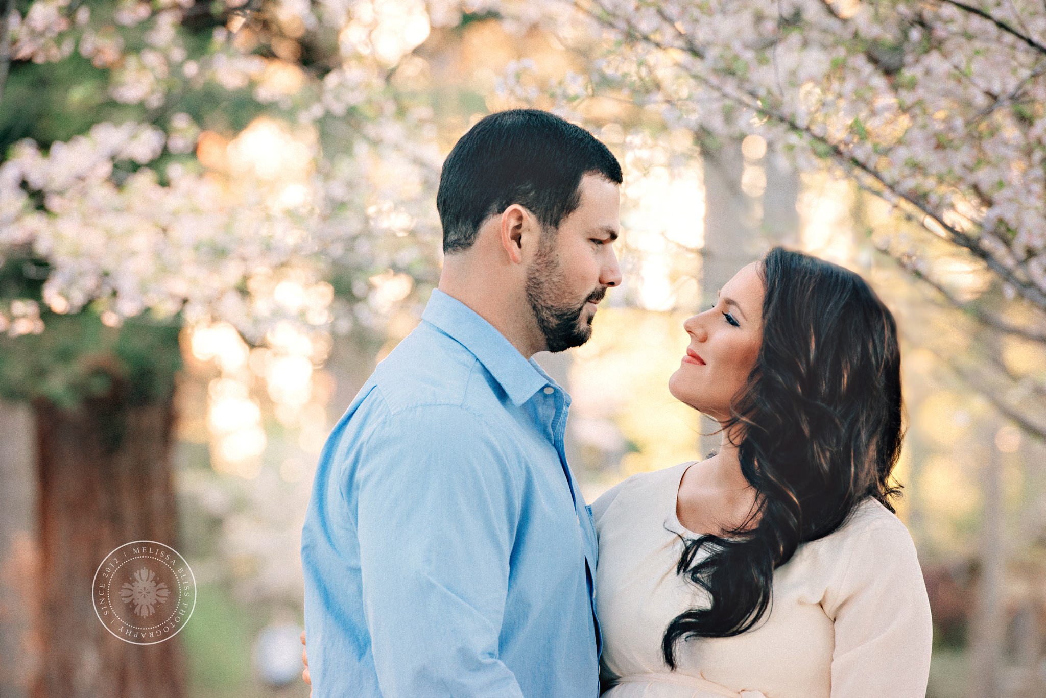 red-wing-park-cherry-blossoms-maternity-session-couple-posing-spring-flowers-va-beach