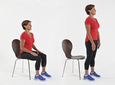 Chair Stand: Start in a seated position, keeping in mind a strong posture with your shoulders down and back. Rise to a standing position by engaging your glute and leg muscles, pushing down through your feet in a balance motion to stand. Repeat.