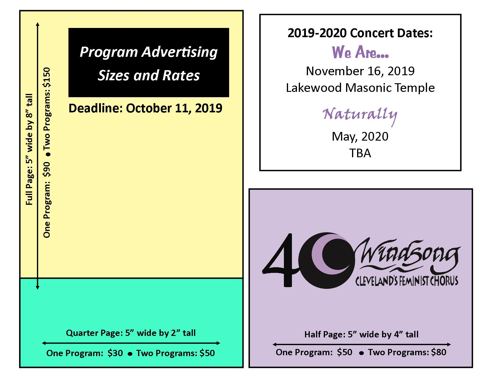 We would be honored to run your ad, message, or endorsement in our programs for this concert or the entire season, where it will be seen by about 300 audience members at each performance. We accept PayPal at  windsongpaypal@gmail.com  or you can mail a check or money order to our P.O. Box at 771212 Lakewood Oh 44107. Payments must be received by October 16, 2019 for your ad to appear in our program.  Please email your ad to Amanda Strand by October 11 at  mandyrae16@gmail.com . If you have questions or need help, please contact Amanda via email (preferred) or call 216-644-8023. Formats that we will accept are: .PDF, .TIF (300DPI or more, CMYK, not RGB), .EPS, or .JPG (300 DPI or more CMYK not RGB) if you scan a business card to email, make a High-Res scan, 600DPI or better so it can be enlarged. Submissions are due no later October 11, 2019.
