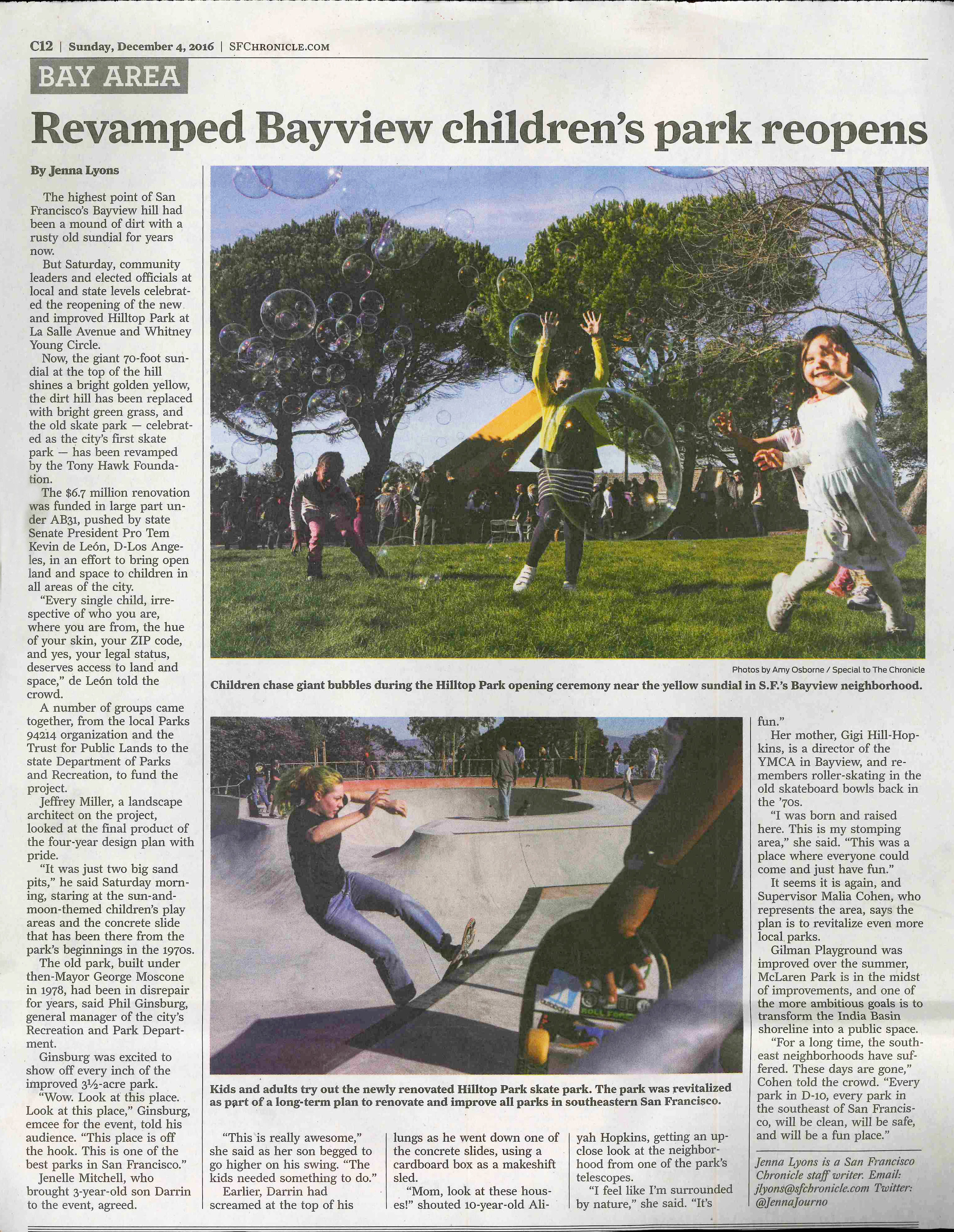 The Grand Opening of Hilltop Park was a great success! Kids of all ages came out to skate in the new Dish, give the new playground a whirl and simply hang out on the grassy hill to take in the views of the city.  The Chronicle published an article  on Sunday, December 4 about the renovation.
