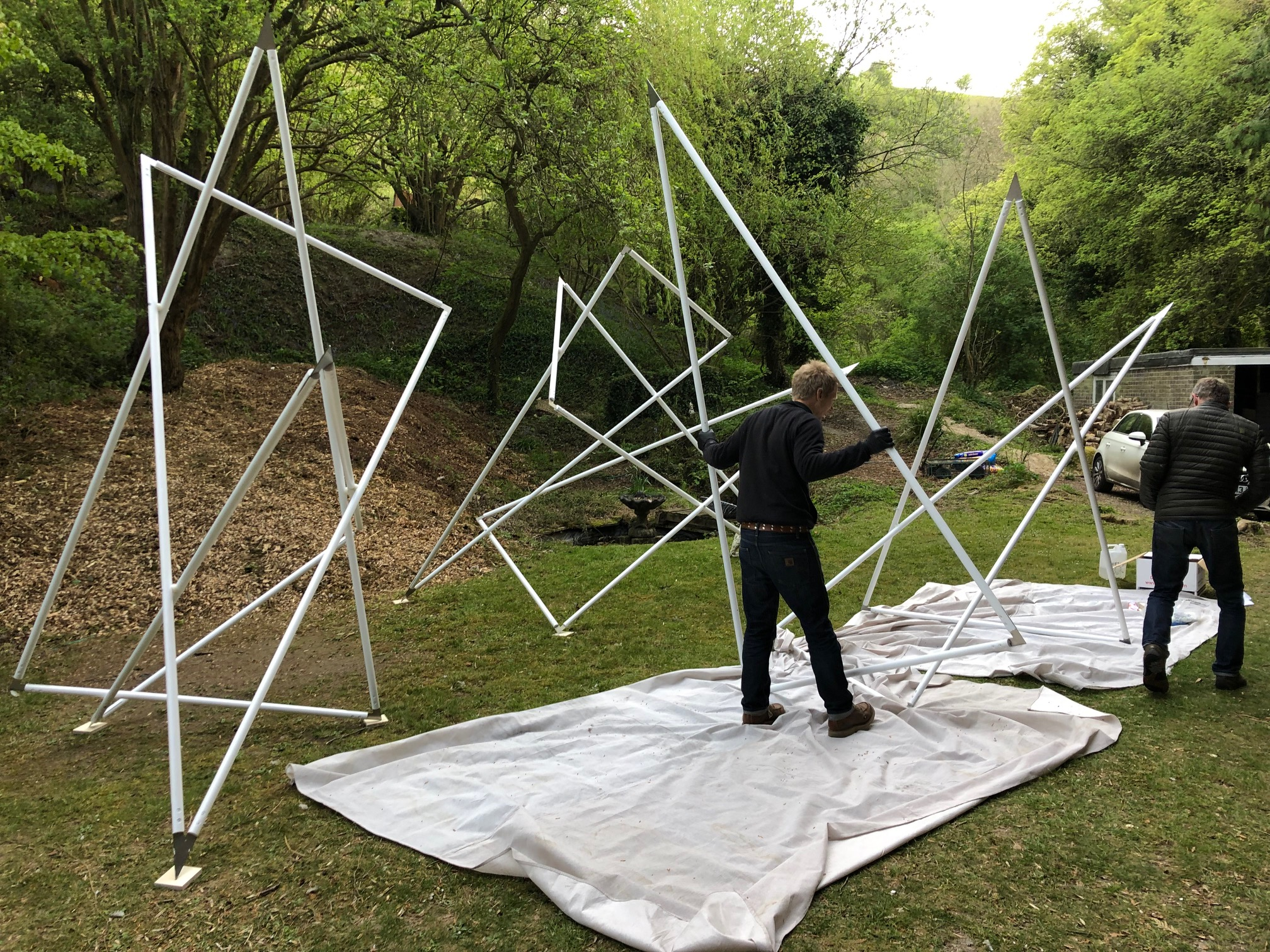 Ivan Clarke and friend having fun assembling the Triangle Experiments