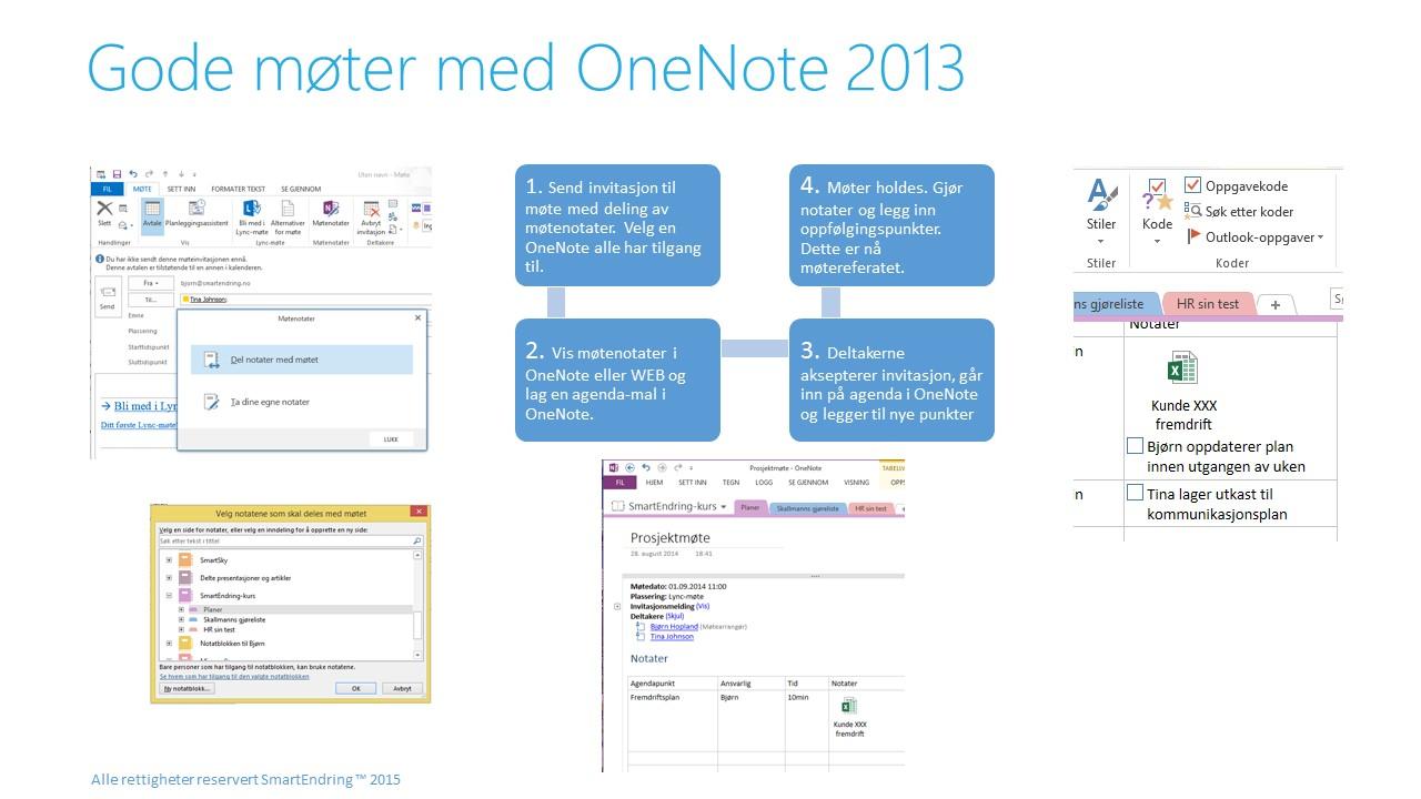 God møter ved bruk av OneNote