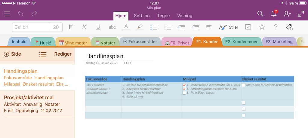 Smart endring planleggeroppsett, her vist på iPad. Synkroniseres automatisk mellom PC, Mac, nettbrett og telefon.