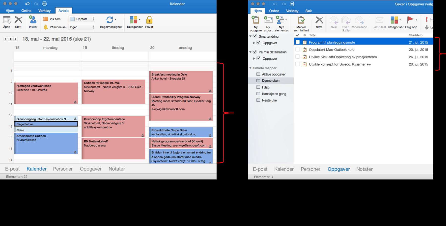Skjermbilde av Outlook kalender og oppgave i to vinduer på Mac