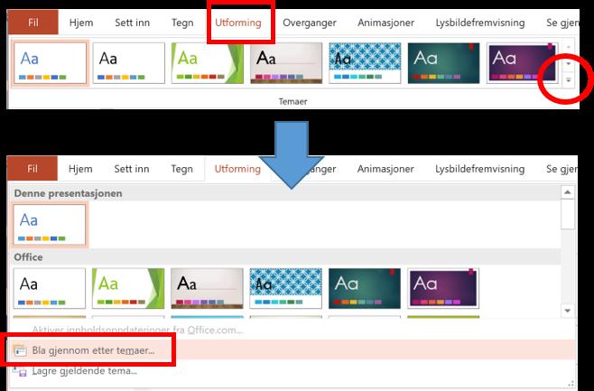 Bilde viser gjenbruk av tilpasset mal fra en tilpasset presentasjon