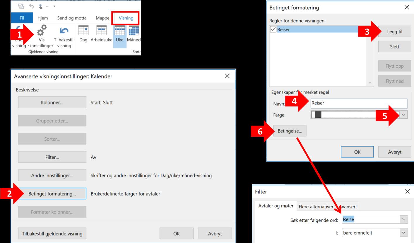 Bildet illustrerer skrittene for å fargelegge avtale i Outlook automatisk