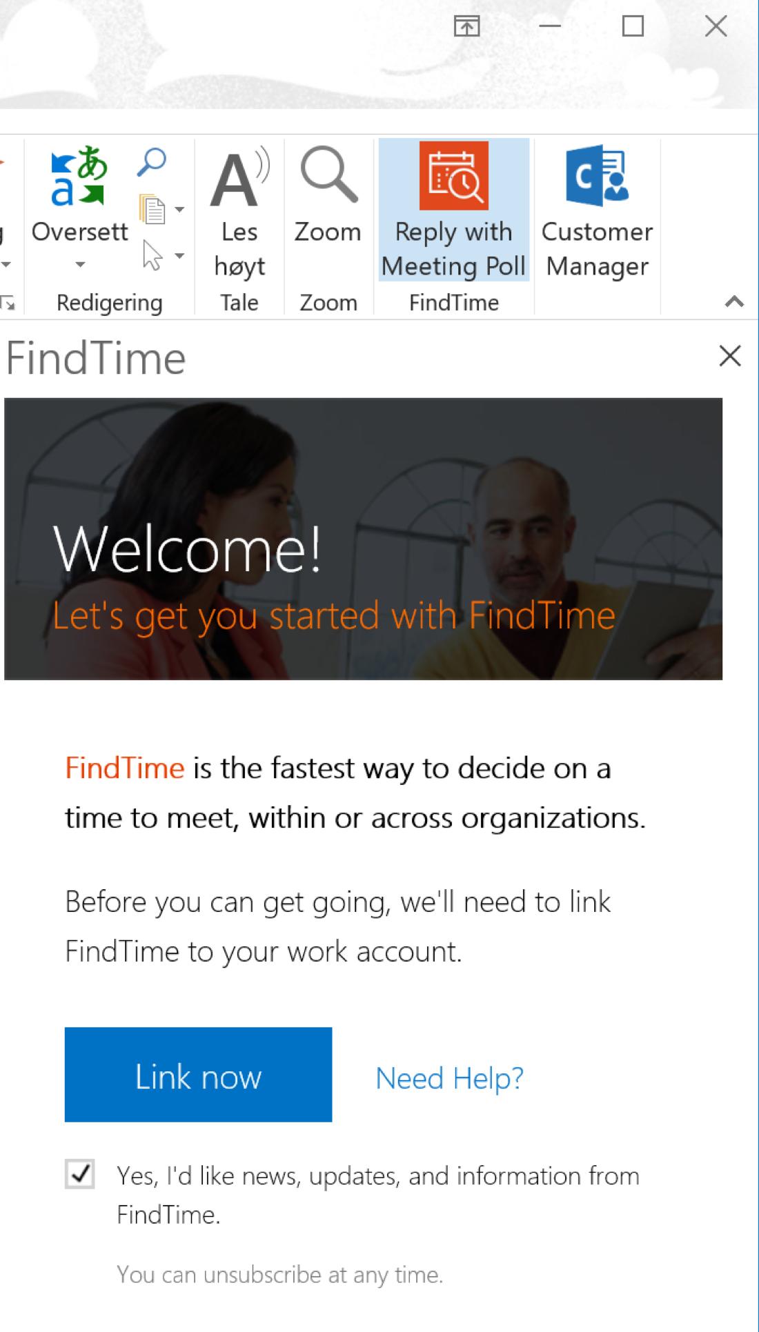 Skjermbilde av Outlook tillegget FIndTime