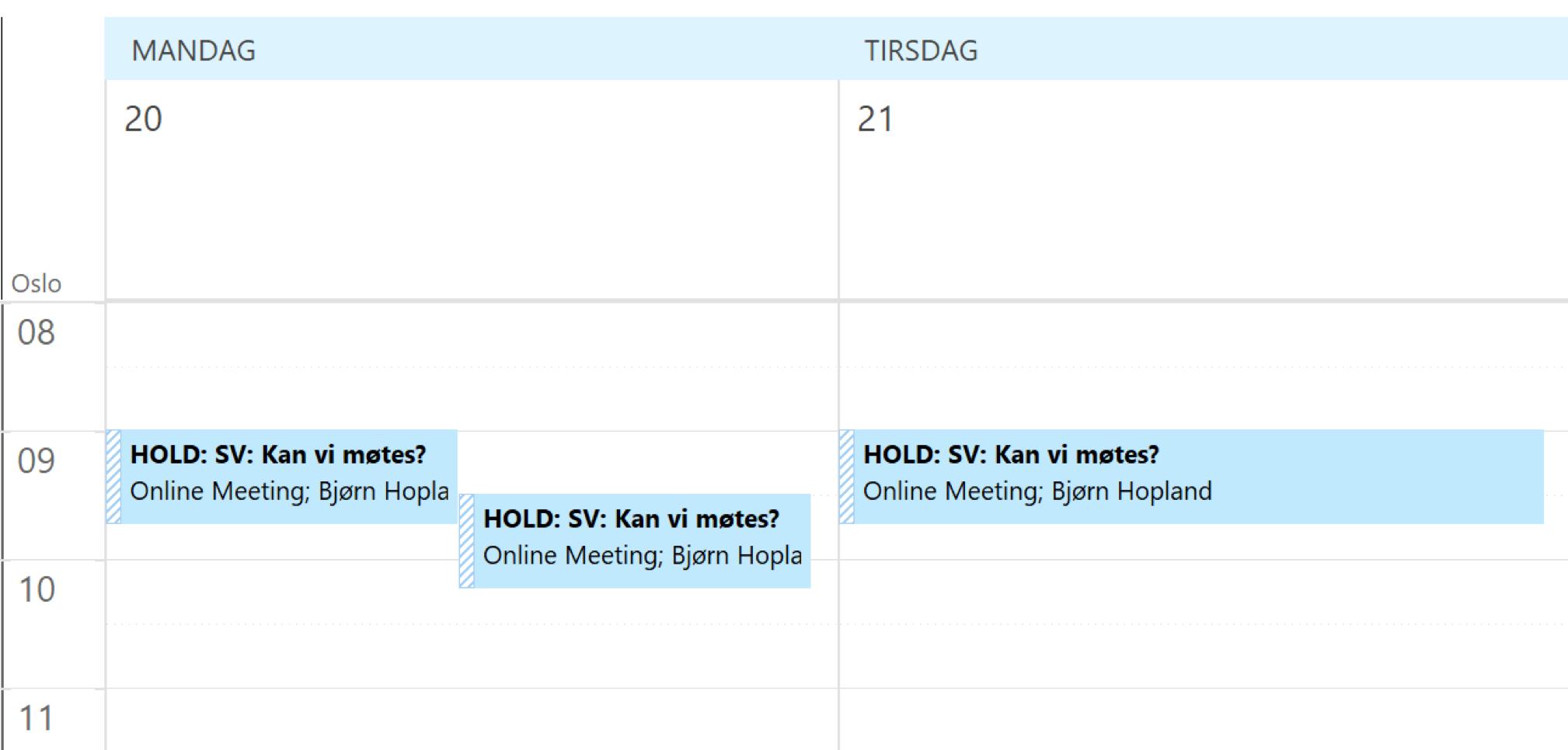 Skjermbilde av kalender som viser tre foreløpige tider for møtet