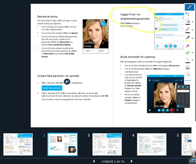 Bildet viser PowerPoint med presentasjonsvisning i Skype for Business