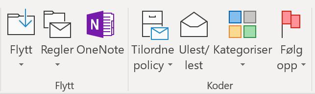 Skjermbilde som viser Send til OneNote i OUtlook-båndet