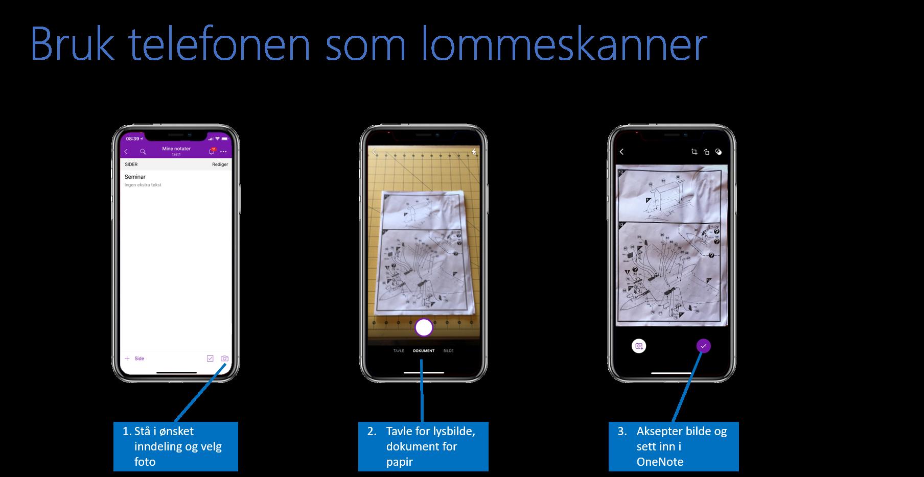 Bildet viser bruk av telefon til å skanne notater og ta bilde aV lysbilder