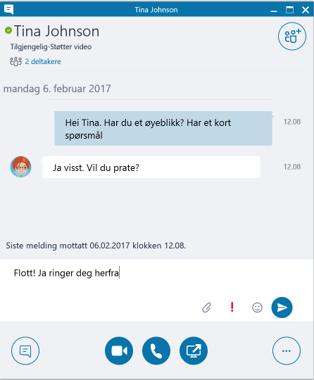 Skjermbilde av Skype-chat