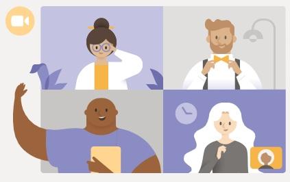 Bildet viser figurer som deltar i Teams-møte