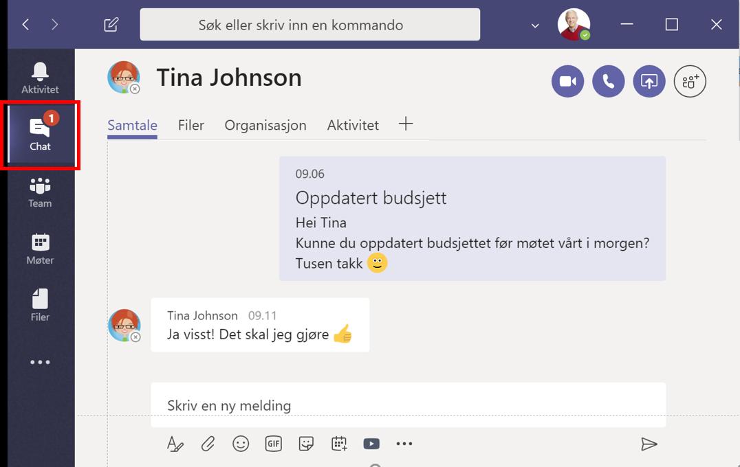 Skjermbilde av Chat-forespørsel om å gjøre en oppgave