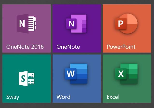 Skjermbilde av Office programfliser i Windows