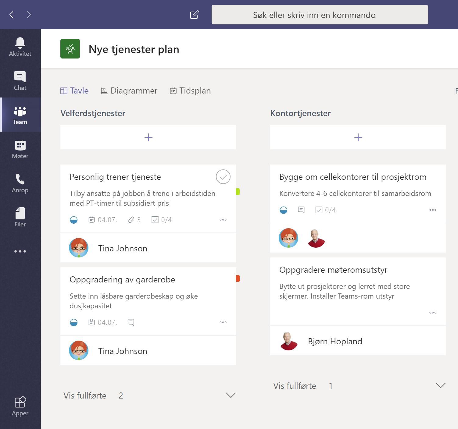 Skjermbilde av Microsoft Planner i Teams