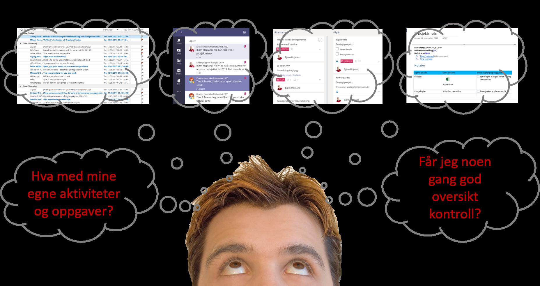 Illustrasjon viser en mann som tenker på oppgavene som kommer inn fra mange kanter
