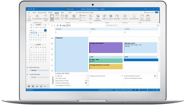 I Outlook (windows-utgaven) kan du se både avtaler og oppgaver i planleggingsvisning