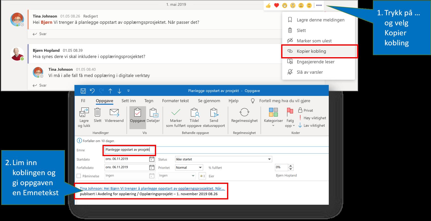 Illustrasjonen viser hvordan man kopierer en lenke til Teams-innlegg og limer det inn i en Outlook oppgave
