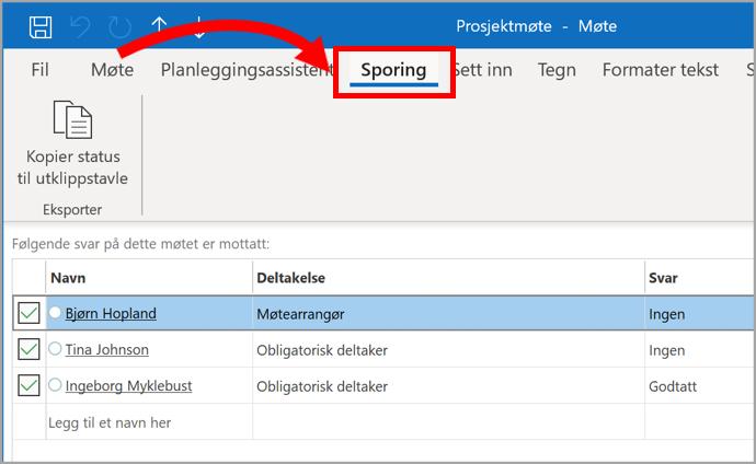 Skjermbilde av Outlook avtale med valg av sporing
