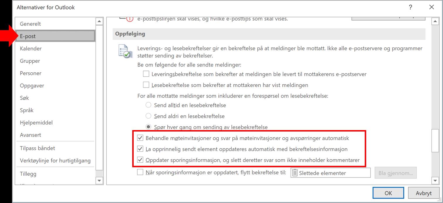 Skjermbilde av Outlook alternativer. Behandle svar på møteinvitasjoner