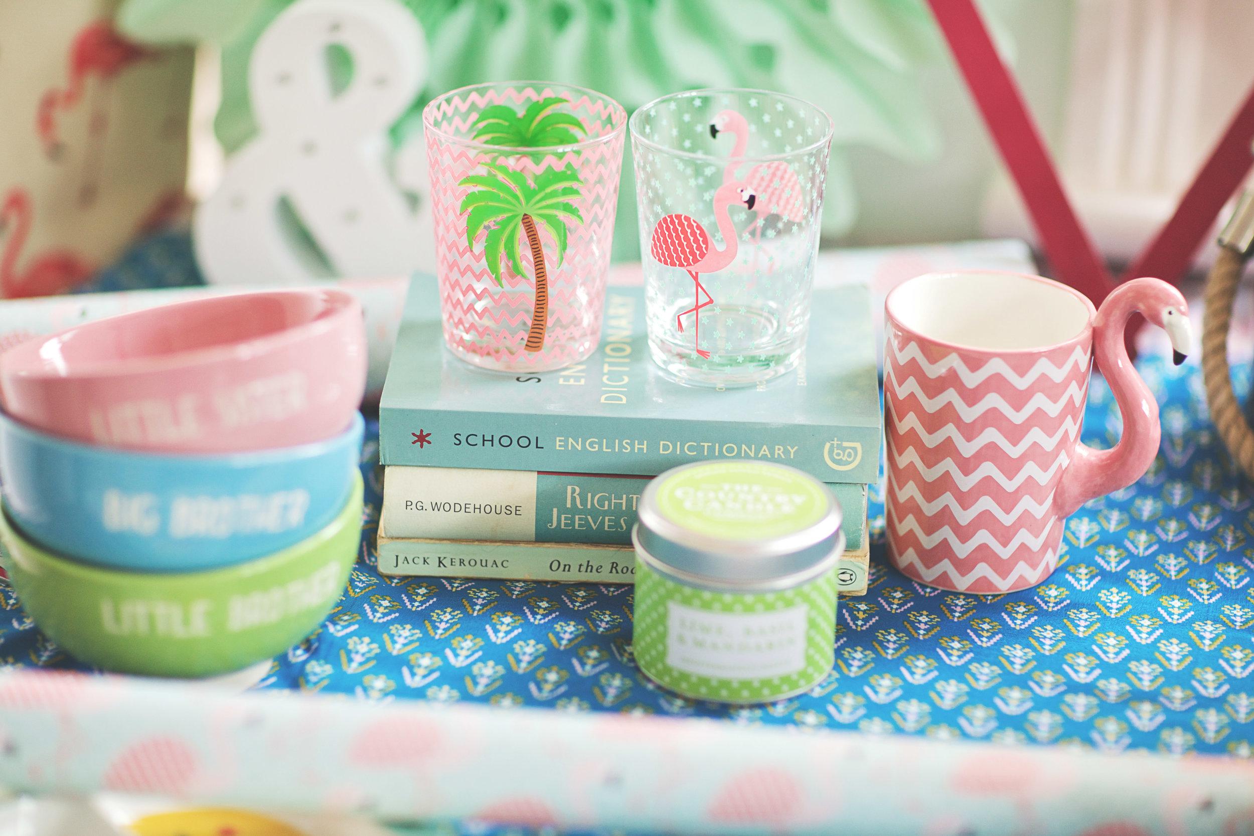 Palm Tree/Flamingo Glass: £2.50 // Flamingo Mug: £8.50 // Sister/Brother bowls: £10.00