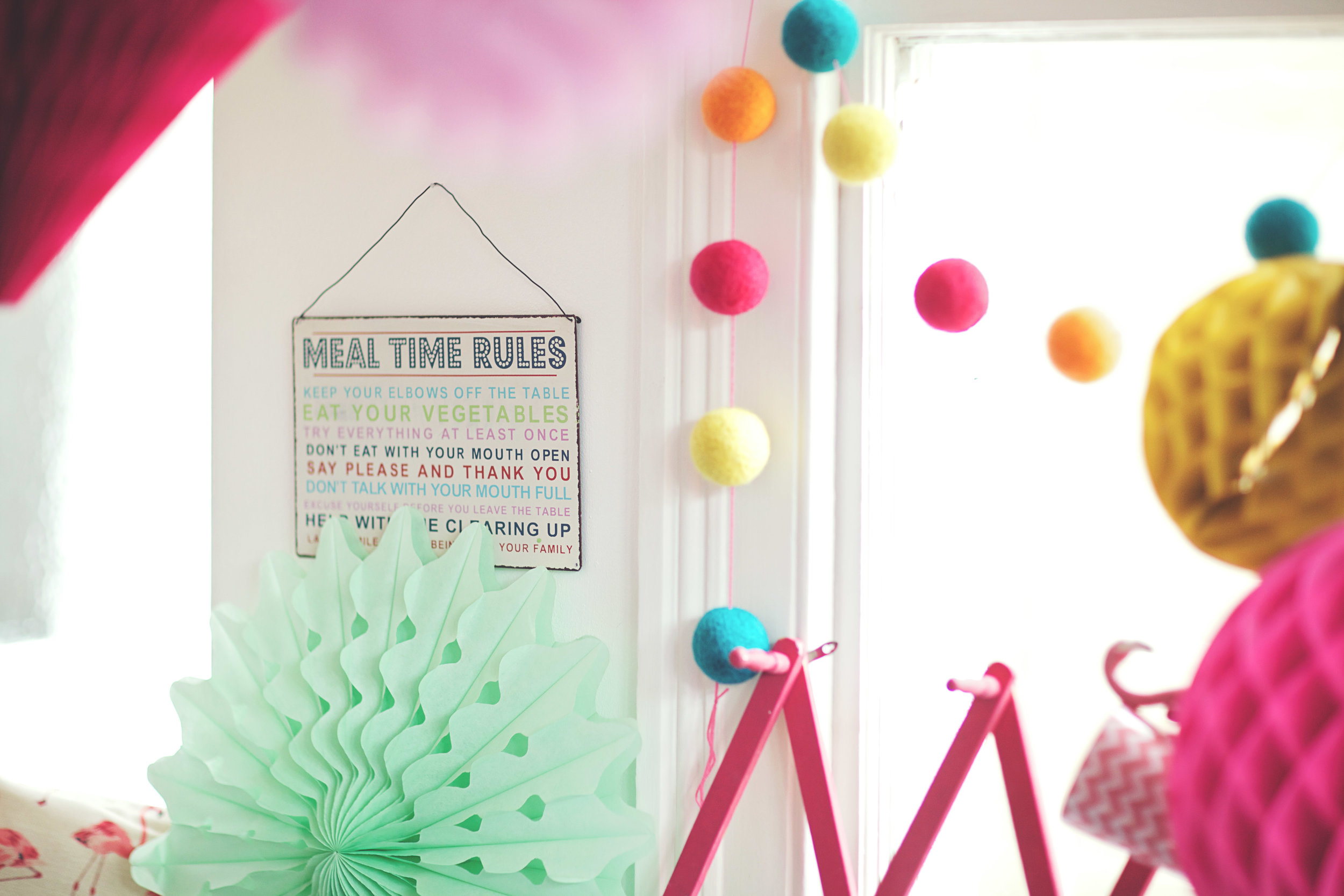 Meal Time Rules Sign: £7.50 // Multicoloured Felt Bauble Bunting: £13.95