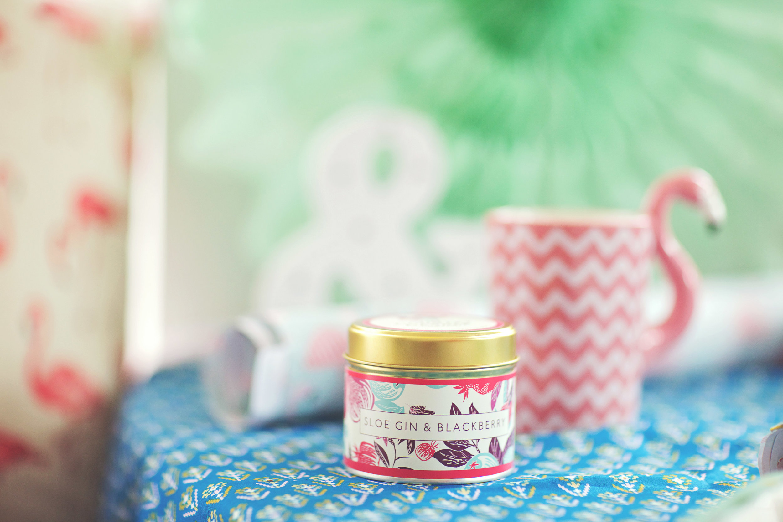 Sloe Gin & Blackberry Country Candle: £12.99 // Flamingo Gift Wrap: £1.75