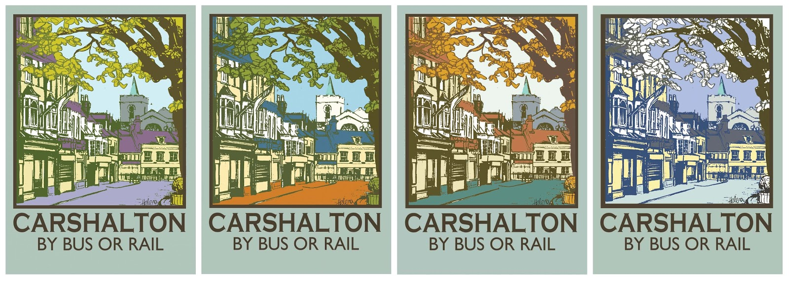 Helena's 'Carshalton by Bus or Rail' prints, cards and postcards are available to buy at Calladoodles.