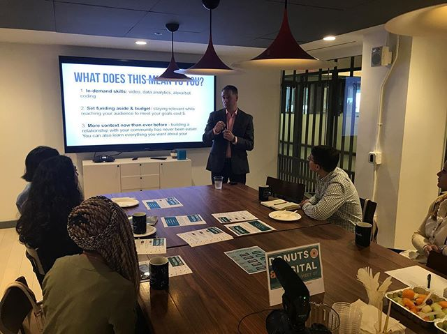 We hosted our first Donuts & Digital meet-up where Kevin shared 3 trends driving results in digital marketing: messenger bots🤖, square video🎥, and proximity marketing📍. We have lots of trainings, classes and meetings coming up so click the link in our bio to find out more! #dcevents #nycevents #digitalmarketing