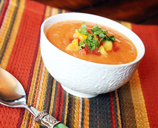 Chilled Heirloom Tomato & Peach Soup
