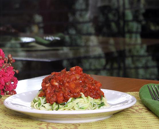 Veggie Bolognese over Zucchini Pasta