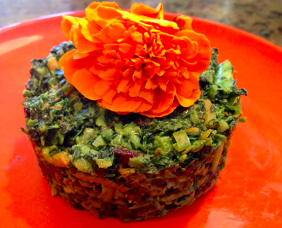 Kale, Carrot & Herb Salad w/ Almond Cardamom Dressing