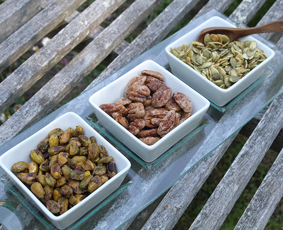 Candied Nuts & Seeds (Sumac Pistachios, Spicy Pecan Pralines, Candied Pumpkin Seeds)