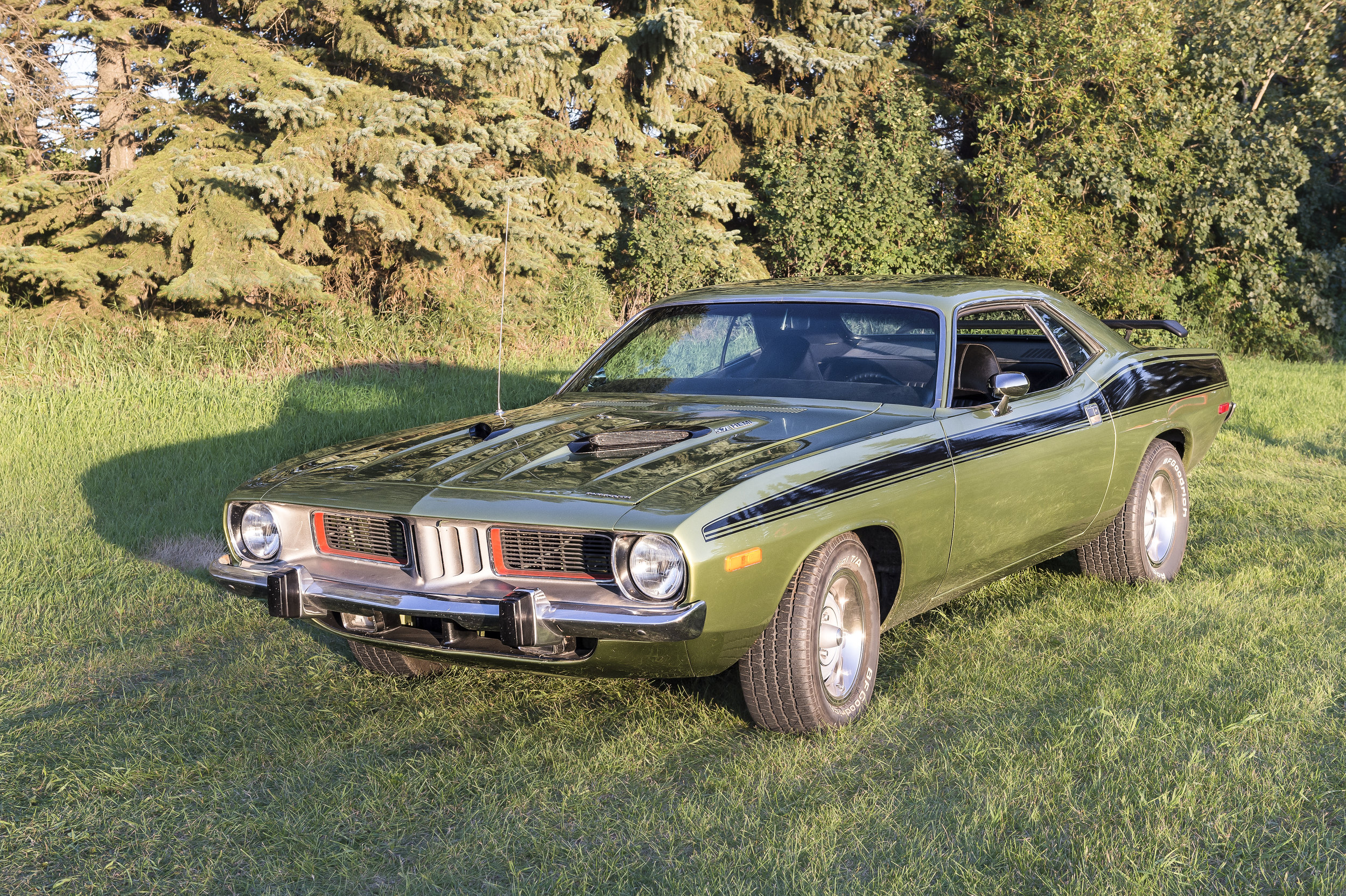 "1973 Plymouth Barracuda   5.7 Hemi Engine and a 727 Automatic transmission and 8-3/4"" Rear Diff. This car is locally owned and driven. You can see it and more at Just Kruzin Kruz nights"