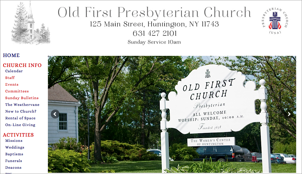 Old First Presbyterian Church Huntington - Website Design