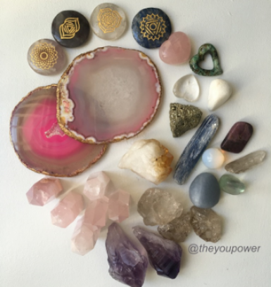 The You Power's collection of healing crystals.