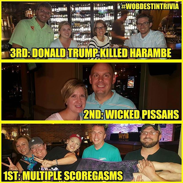 More awesome team pics! This time from World of Beer in Destin, FL. There's never a dull night @wobdestin Come join us at 7pm for some trivia fun and a chance to win 1 of 3 FREE wob gift cards! #Cheers 🍻 #TheTriviaFactory #trivianight #wednesday #humpday #trivia #fun #beer #wine #prizes #drinking #alcohol #beerisgood #worldofbeer #wobdestin #destin #entertainment #nationwide #teamtrivia #familygamenight #instagood