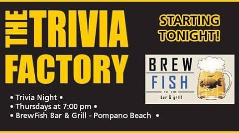 It's #throwbackthursday alright!! @BrewfishPompano is bringing back #TriviaNight TONIGHT! You won't wanna miss this event!! #Cheers 🍻 #TheTriviaFactory #trivia #thursday #throwback #brewfish #pompano #beach #florida #teamtrivia #thursdays #beer #wine #prizes #drinking #alcohol #games #familygamenight #entertainment #nationwide #instagood