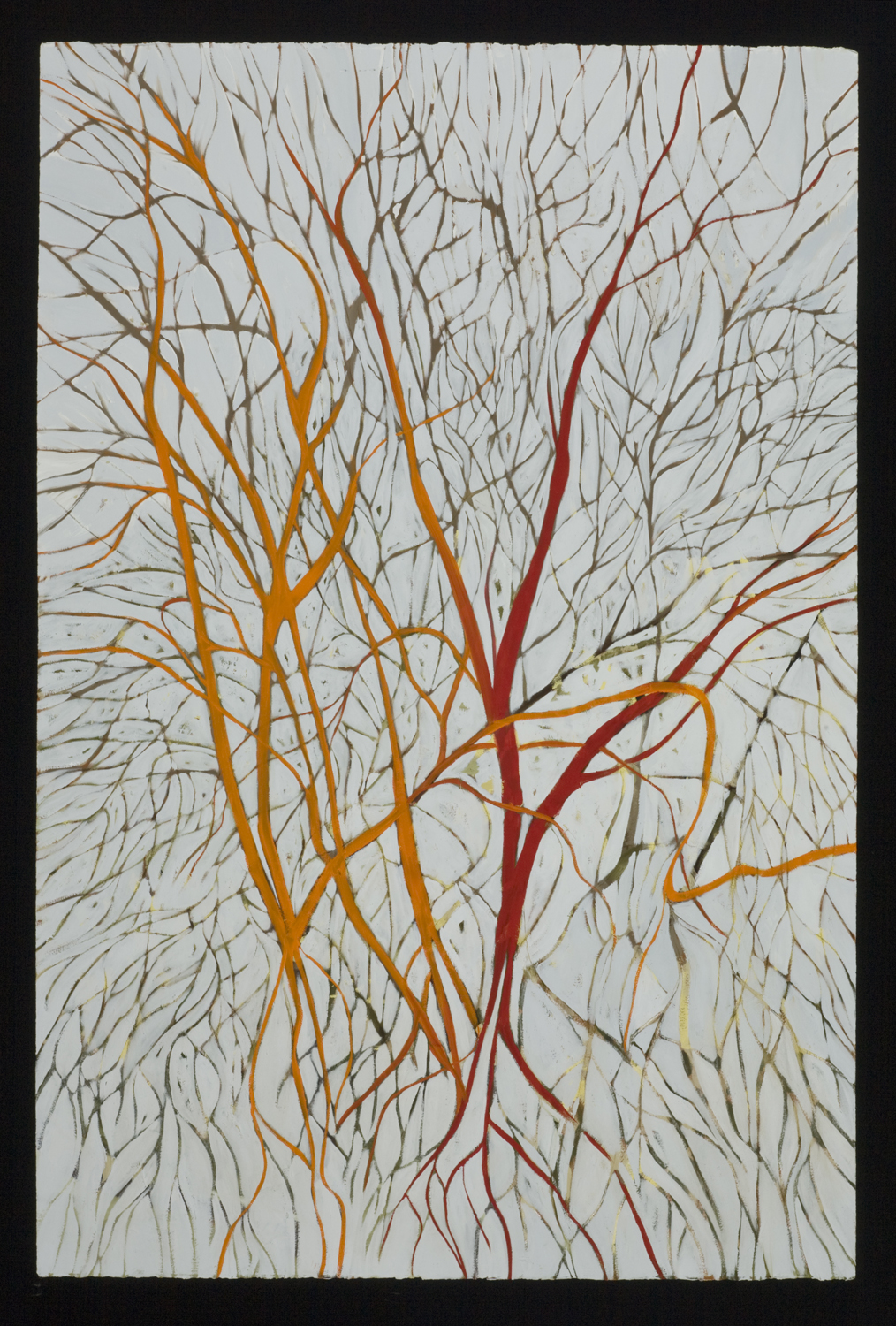 "Winters Pulse, 2011, oil on paper, 48""x32"""