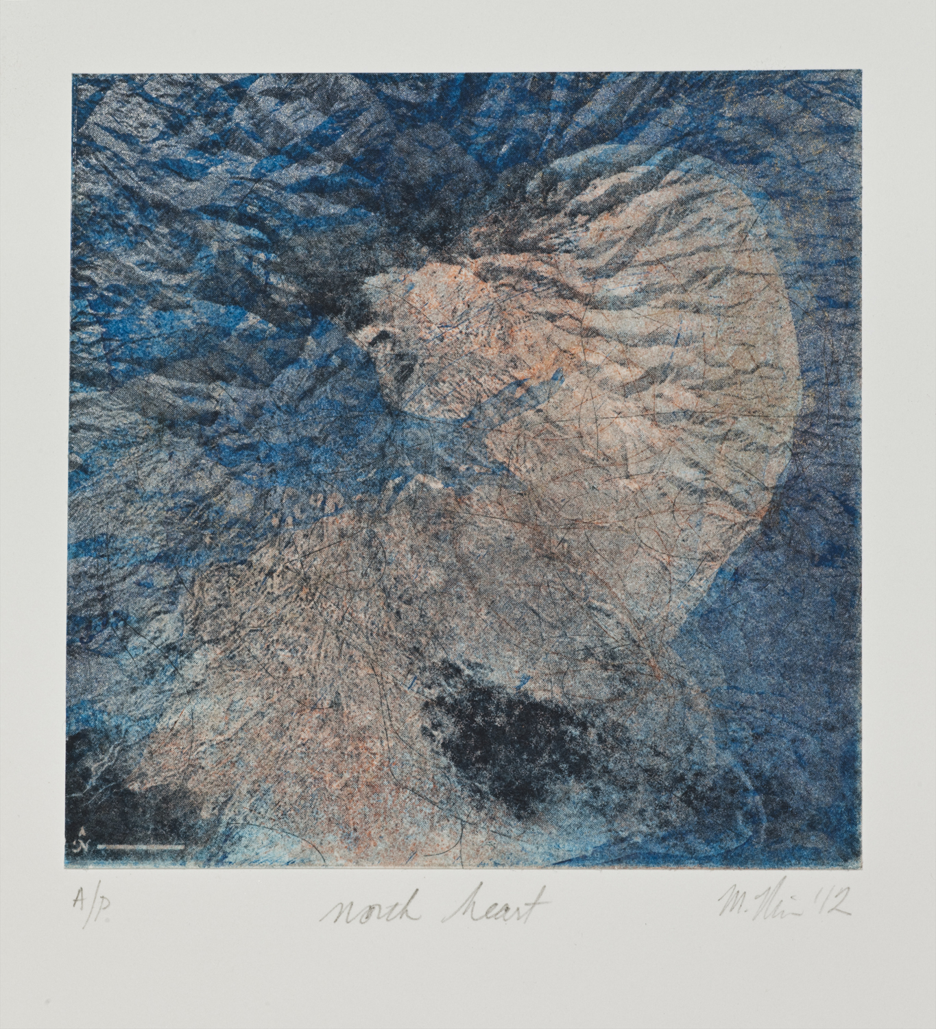 "North Heart, 2012, mixed media print, 6""x6"""