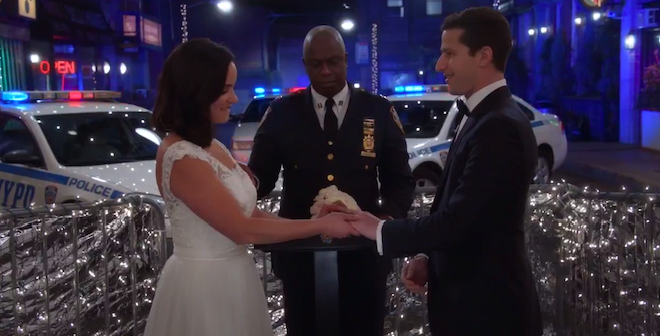 Toit Nups  Jake & Amy,  Brooklyn 99     The wedding of the New York 99th Precinct's cutest couple may not have turned out the way Jake and Amy planned, but with some impromptu help from their co-workers, it was the toit nups they deserved. After surviving a bomb threat, a jealous ex, a melting cake, and lost rings, the pair wed outside the place that started it all: the 99th precinct.  Wedding planning is stressful, but planners can lift some major burdens! From helping you book your dream venue to finding wedding day storage for your cake, we are here to help your day go right.