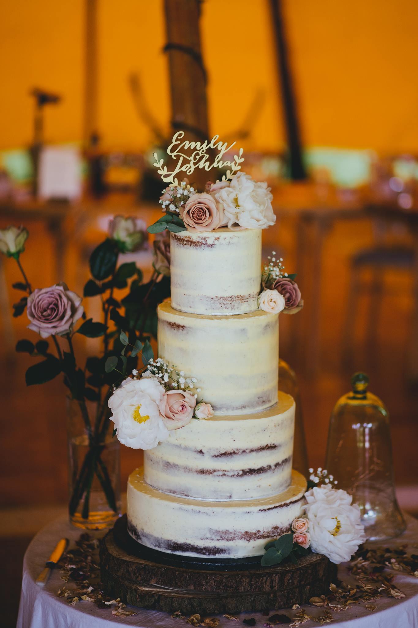 semi naked wedding cake brighton sussex
