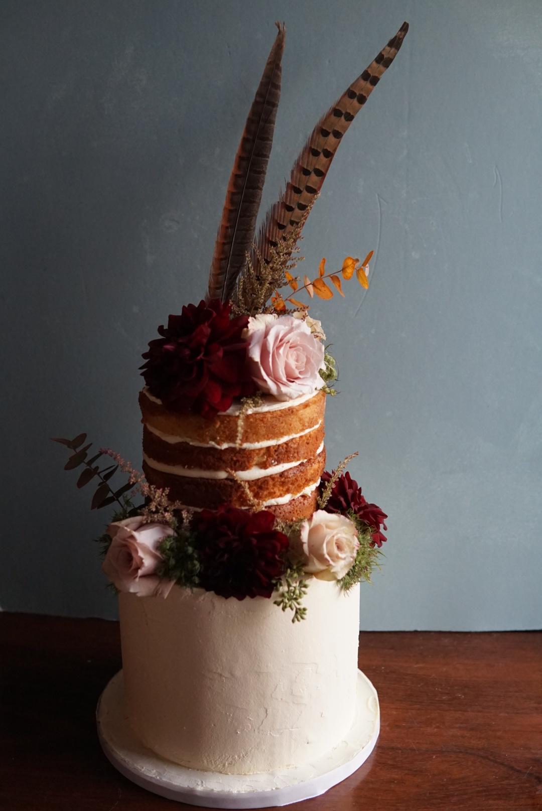 boho naked wedding cake buttercream brighton sussex