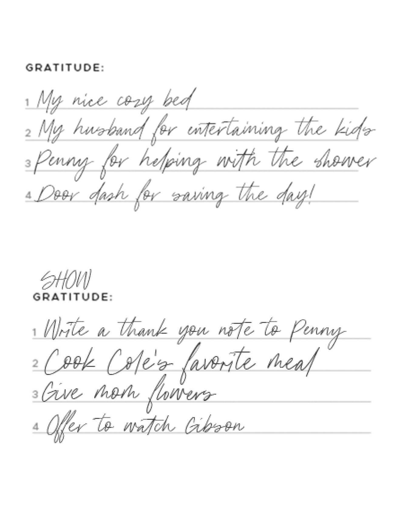 - GRATITUDE:Use this space to write down what you're grateful for OR ways you can show gratitude to others!