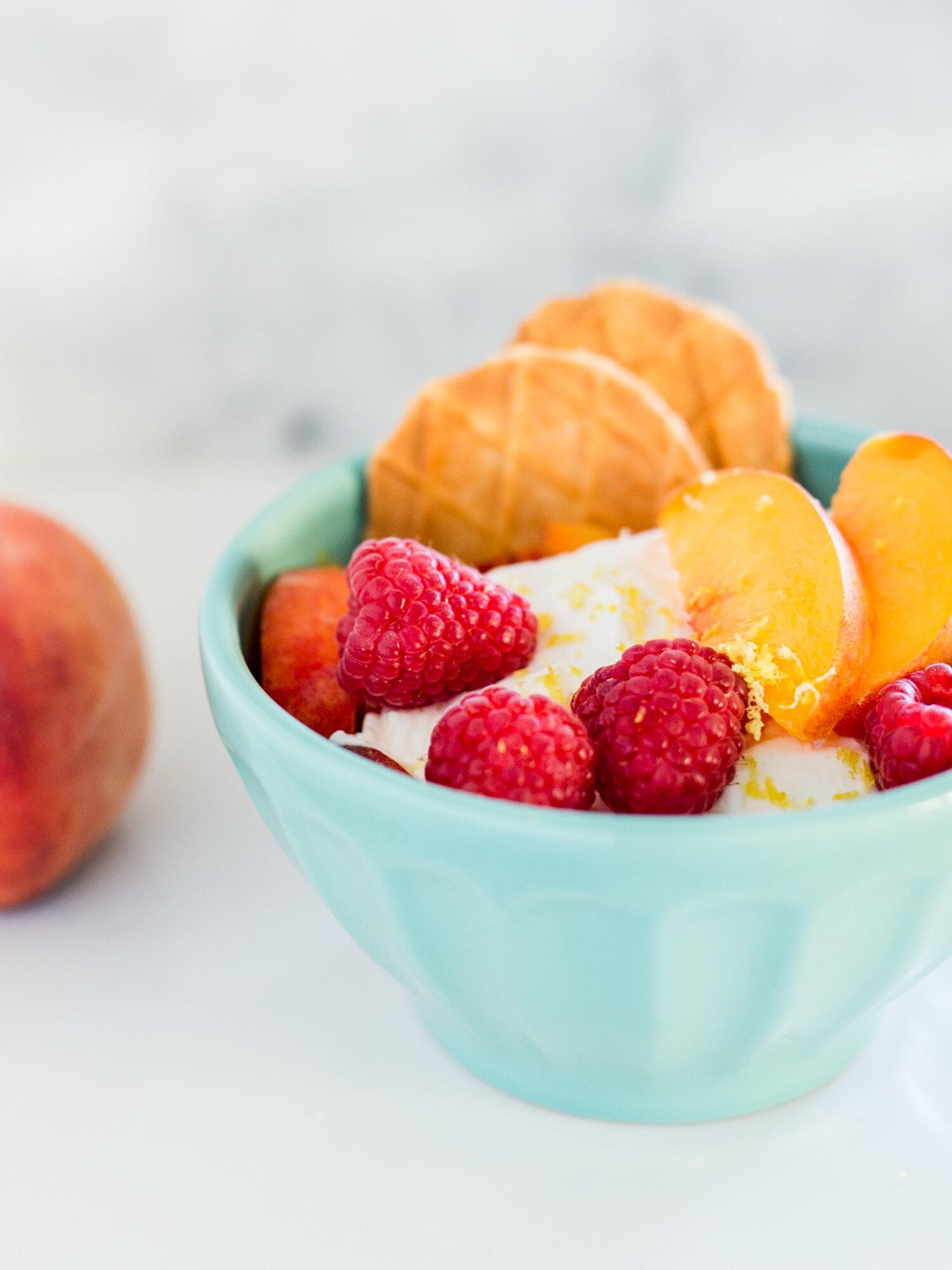 Peach and Raspberry Dessert from Golden Coil Blog