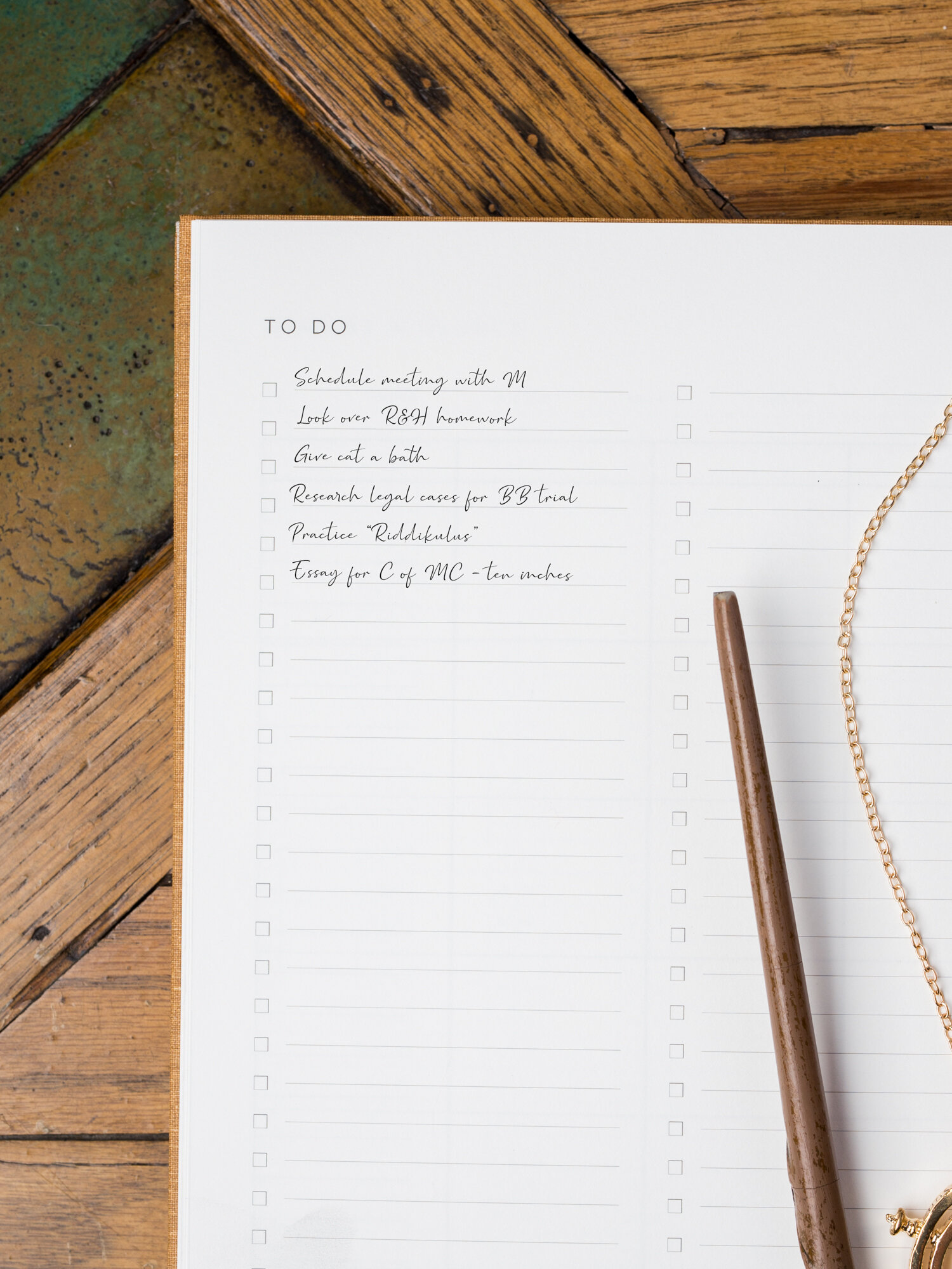 Mystery character's Golden Coil Planner to do list